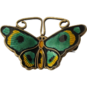 David Andersen Butterfly Pin Guilloche Enamel Sterling Gilt