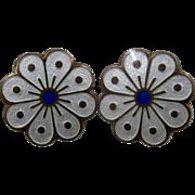 Mid 1900s David Andersen Vermeil Enamel Clip Earrings Flower