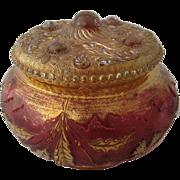 1899 Delaware Dresser Box or Jar Rose Stained Gilt
