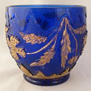 """""""Delaware"""" Pattern Spooner/Sugar Bowl Cobalt Blue Gilt Taiwan Reproduction"""