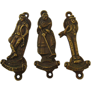 Three Brass Figural Knockers Dickens Characters Axford