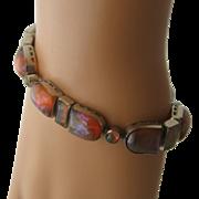 "Art Deco Dragon's Breath Link Bracelet 6 3/4"""