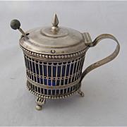 1906 Dutch 934 Silver Mustard Pot Cobalt Liner W.R.80 Mark