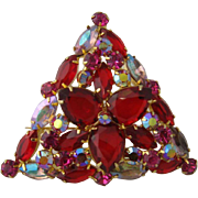 Large Triangular D&E Juliana Pin Red, Hot Pink, Aurora Borealis