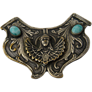"Egyptian Revival Shield Pin Pharaoh ""Turquoise"" Stones"