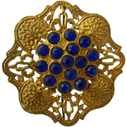 Brilliant Blue Gilded Brass Czech Pin Beautiful Metalwork