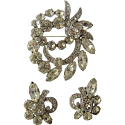 Eisenberg Ice Clear Crystals Pin & Clip Earrings Set