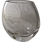 1970s Ekenas Sweden Crystal Vase Etched Tree Deer