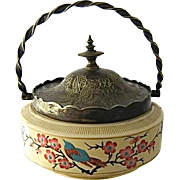 SOLD Late 1800s Enameled Ceramic Sweetmeat or Biscuit Jar Silver Plated Mounts Sheffield