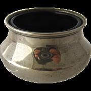 1922 English Sterling Salt Dish Cobalt Glass Liner