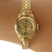 "Carl Fabergé 14K Ladies' Swiss Watch Emeralds Tiger Heads 5 3/4"""
