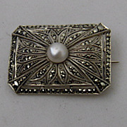 Theodor Fahrner Deco Pin Sterling Pearl Marcasites