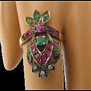 14K Rubies Emeralds Diamonds Crown Shape Long Ring Sz 6 1/4
