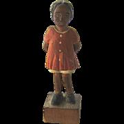Ca 1930s Folk Art Wood Carving Black Girl w/ Ball