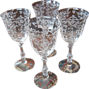 "SOLD Set 4 Fostoria ""Navarre"" Etched Crystal Water Glasses Stems Goblets"