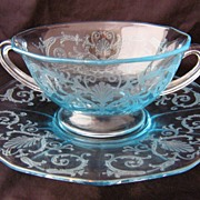 Fostoria Versailles Azure Blue Handled Cream Soup w/Liner Saucer