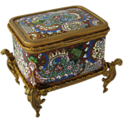French Champleve Jewelry Casket Box Ormolu Mounts Jewel Colors