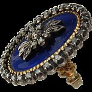 Georgian French Enamel 18K Navette Ring Diamonds Early 1800s Sz 6 1/4