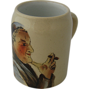 Miniature Mug Stein Match Holder Monk Smoking Cigar
