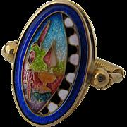 Fusager Demski Magick 18K Cloisonne Enamel Ring Sz 8.5