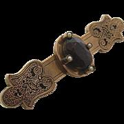 C. 1870's 12K Gold & Garnet Seed Pearl Enameled Bar pin