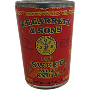 Vintage Garrett & Sons Sweet Snuff in Jar Tin Lid Sealed