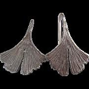 Sterling Silver Ginkgo Leaf Earrings Naturalistic