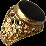 Vintage 14K Onyx Yellow & Rose Gold Floral Cut-Work Ring Sz 7
