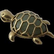 10K Jade Jadite Turtle/Tortoise Pendant Signed HI