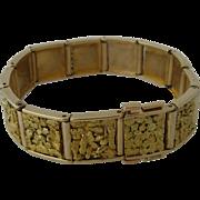 "Big 14K Alaska Gold Nugget Inlay Link Bracelet 7 1/4"" long"