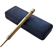 Early 1900s 14K Gold Telescoping Mechanical Pencil w/ Case Chatelaine or Fob