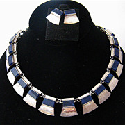 Vintage J. Gomes Taxco Sterling Sodalite Necklace Earrings Heavy