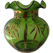 Ca 1900 Green Bohemian Glass Vase w/ Gilt & Chinese Red Enamel
