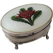 1913 English Sterling Guilloche Enamel Footed Box w/ Thistle
