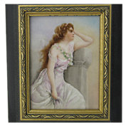 Painted Limoges Porcelain Tile Plaque Beautiful Woman