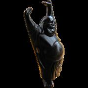 "Carved Wood Happy Buddha Figure 9 1/2"" High"