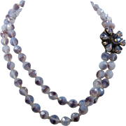 Miriam Haskell Opalescent Purple Glass Bead Necklace 2 Strand