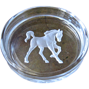 Hoya Etched Crystal Horse Trotting Intaglio Wine Bottle Coaster