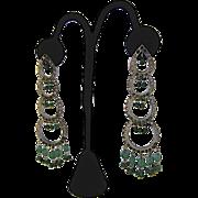 Spectacular Long Vintage India Kundan Bridal Jewelry Earrings