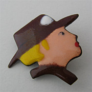 Enameled Pin Blonde Woman in Brown Brimmed Hat