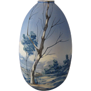 Large Italian Artist Painted Porcelain Vase Water Scene