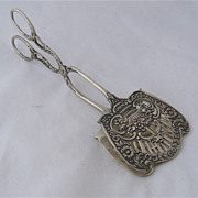 Ca 1930s 800 Silver Ornate Pastry Tongs Basket Flowers