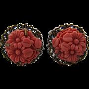 Brass w/ Coral Glass Flower Earrings Screwback Czech