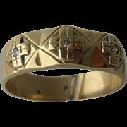 14K Mens Ring 3 Heraldic Crosses w/ Diamond Centers Sz 10 1/2
