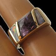 14K Geometric Amethyst & Opals Ring Size 6 1/4