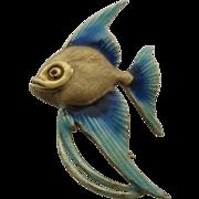 Vintage 14K Enamel Angelfish Fish Pin Germany KG