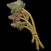 Vintage 10K Black Hills Gold Leaves & Grapes Pin