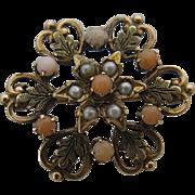 Ca 1900 10K Coral Pearl Snowflake Starburst Pin