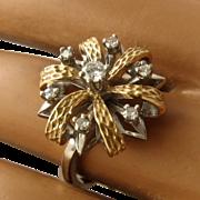 Ca 1950s 14K White & Yellow Gold Diamonds Flower Ring by Famor Sz 8
