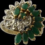 10K Emeralds & Diamonds Bypass Swirls Cocktail Ring Sz 5.5